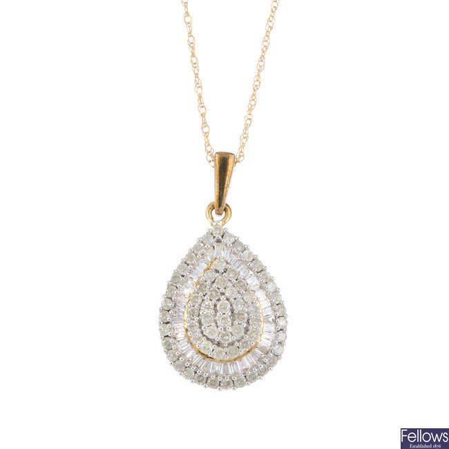 A 9ct gold diamond pendant, with chain.
