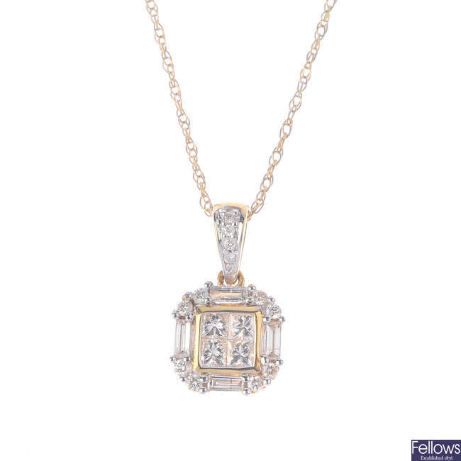 An 18ct gold diamond pendant, with chain.