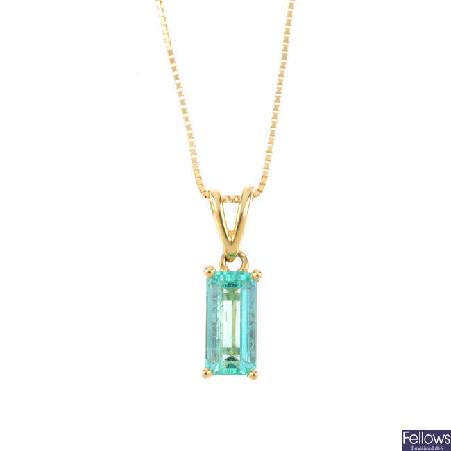 A Colombian emerald pendant, with 18ct gold chain.