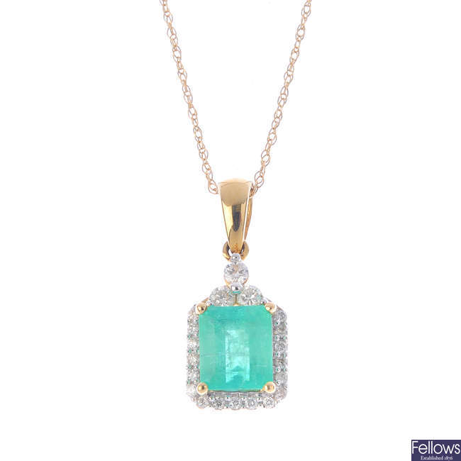 A 14ct gold Colombian emerald and diamond cluster pendant, with chain.