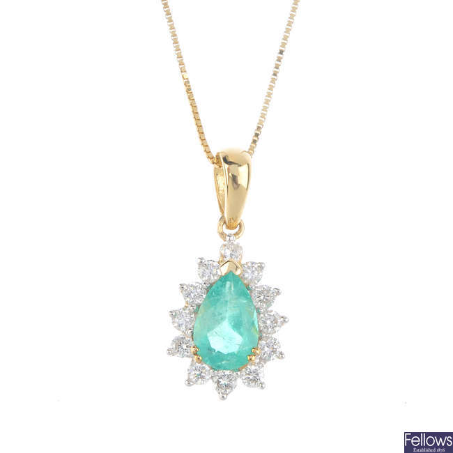An 18ct gold Columbian emerald and diamond cluster pendant, with chain.