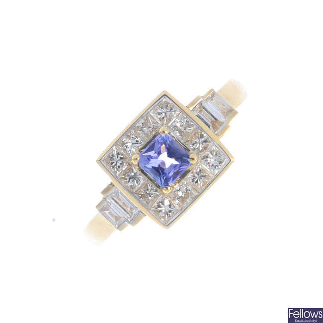 An 18ct gold tanzanite and diamond cluster ring.