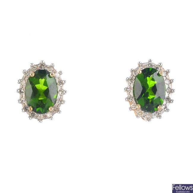 A pair of 9ct gold diopside and diamond cluster earrings.