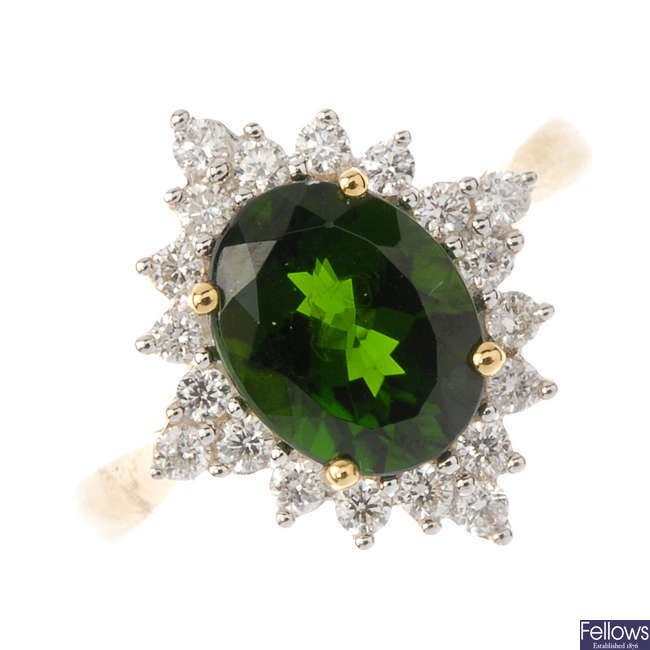An 18ct gold diopside and diamond cluster ring.