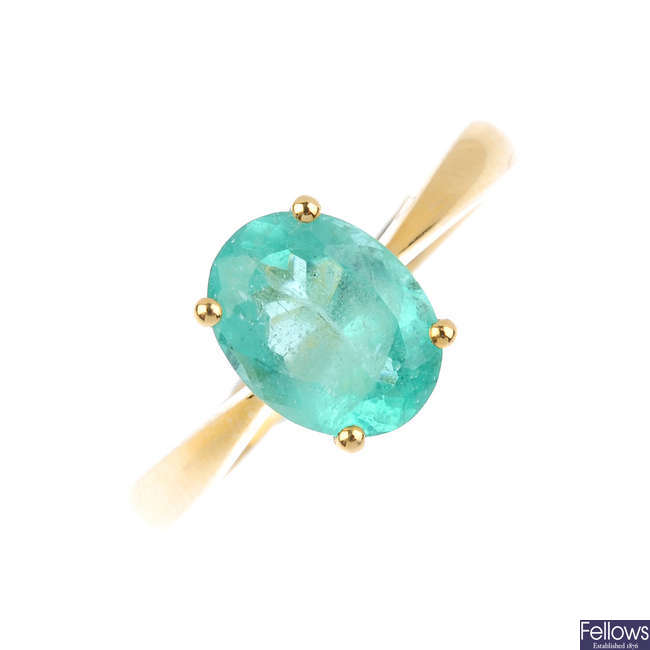 A 14ct gold Colombian emerald single-stone ring.