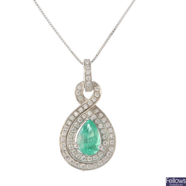 An 18ct gold Colombian emerald and diamond cluster pendant, with chain.