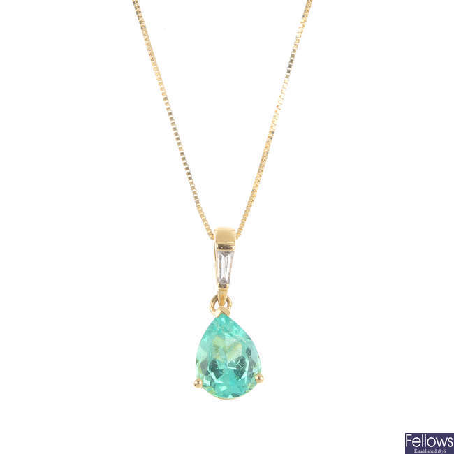 An 18ct gold Colombian emerald and diamond pendant, with chain.