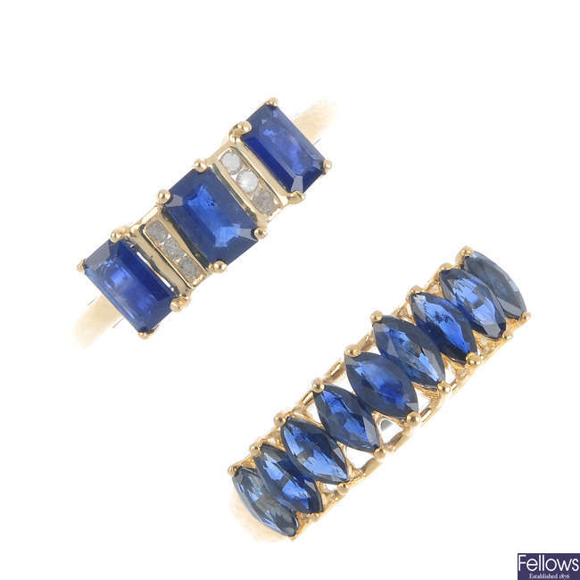 Two 9ct gold sapphire rings.