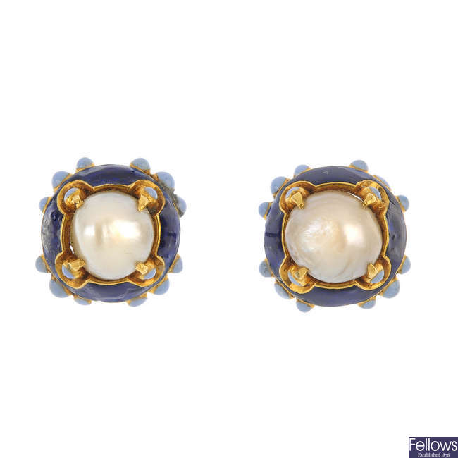 A pair of cultured pearl and enamel ear studs.