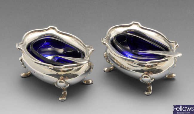 A pair of George V silver open salts, etc.