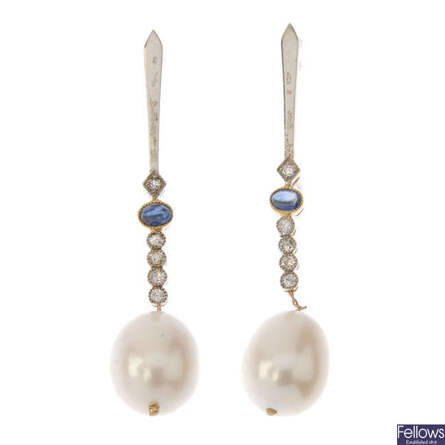 A pair of 18ct gold cultured pearl, sapphire and diamond ear pendants.