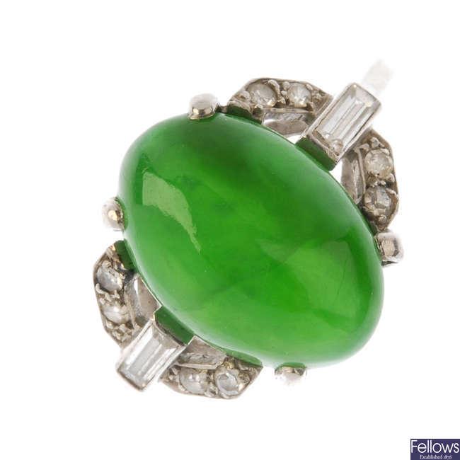 A 1920s Art Deco jadeite and diamond dress ring.