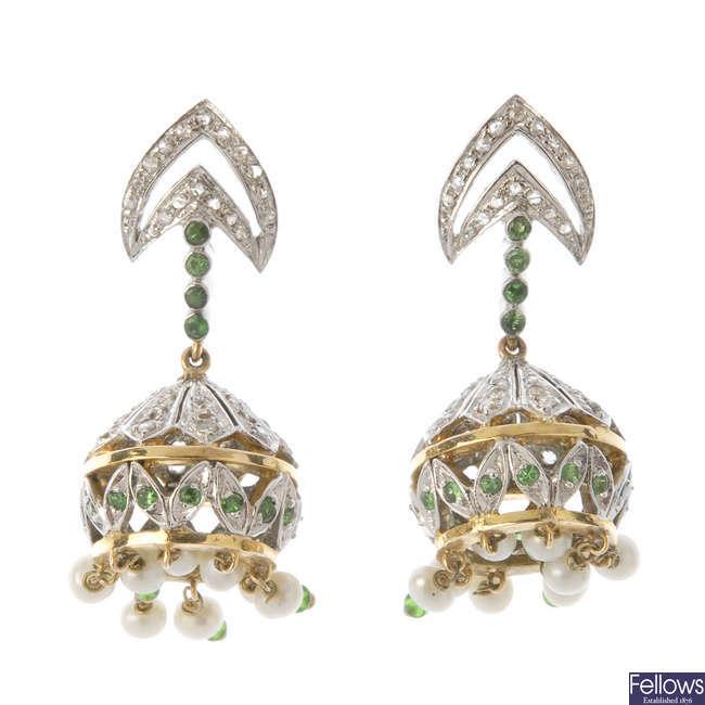 A pair of garnet, diamond and seed pearl ear pendants.