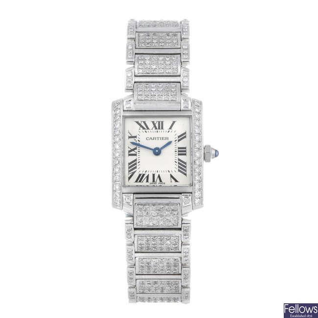 CARTIER - a diamond set stainless steel Tank Francaise bracelet watch.