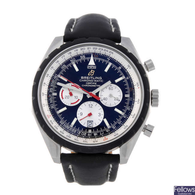 BREITLING - a gentleman's stainless steel Chrono-Matic 49 chronograph wrist watch.