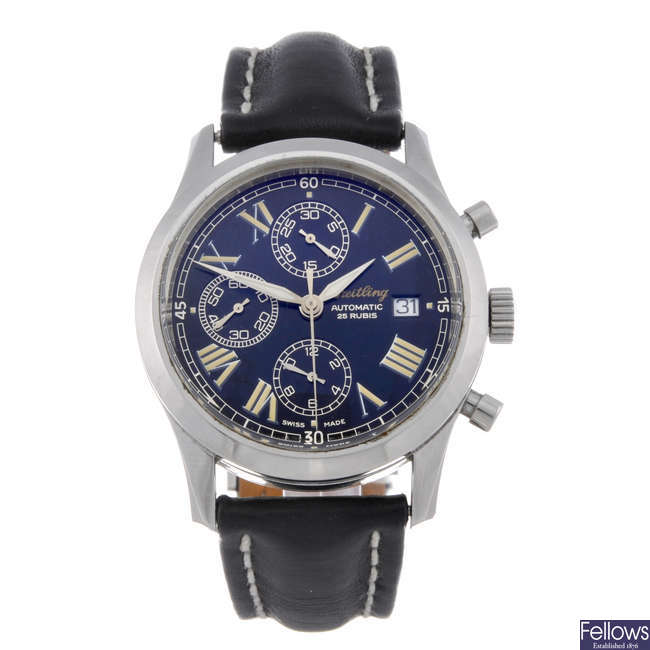 BREITLING - a gentleman's stainless steel Grand Premiere chronograph wrist watch.