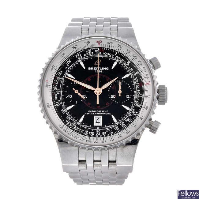 BREITLING - a gentleman's stainless steel Navitimer Montbrillant chronograph bracelet watch.