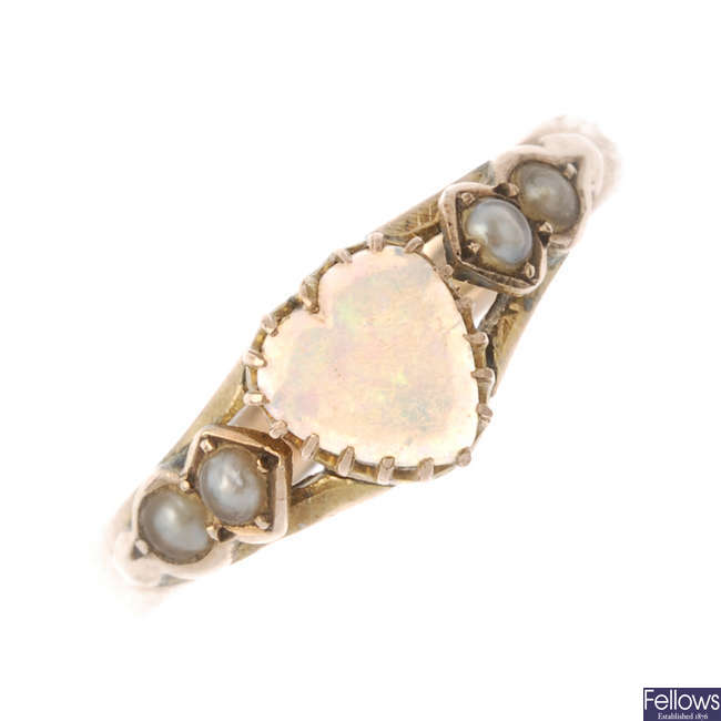 An Edwardian 9ct gold opal and split pearl ring.