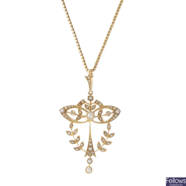 An early 20th century 15ct gold diamond and split pearl pendant, with chain.