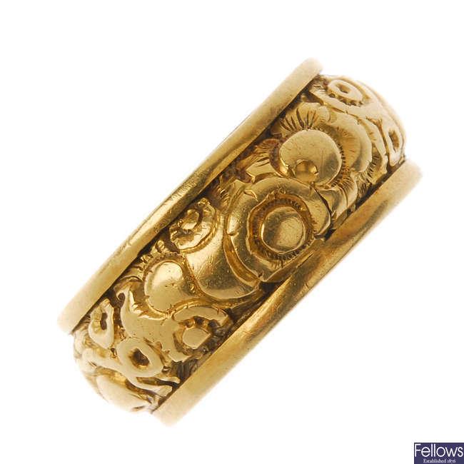 A William IV 18ct gold memorial ring.