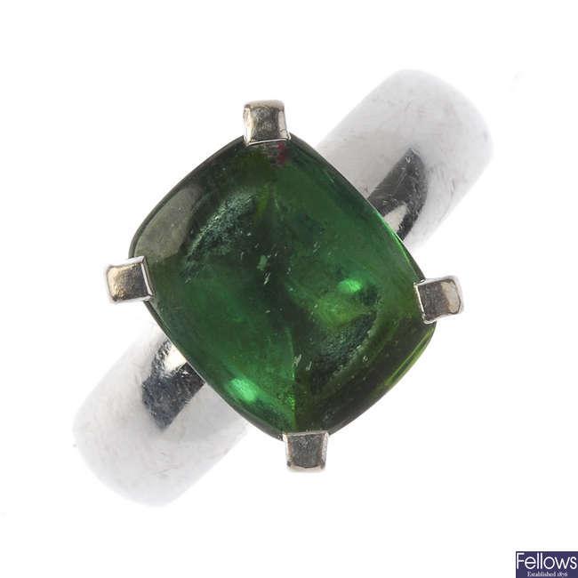 A tourmaline single-stone ring.