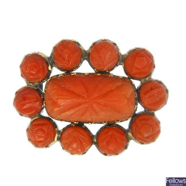 An early 19th century coral memorial brooch.