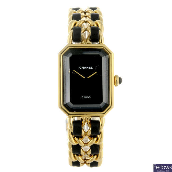 CHANEL - a lady's gold plated Premiere bracelet watch.