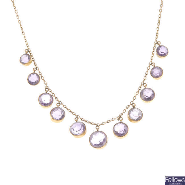 An early 20th century 9ct gold amethyst fringe necklace.