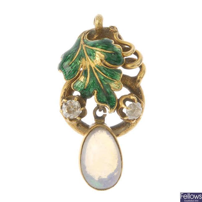 A late 19th century gold, diamond, opal and enamel pendant.