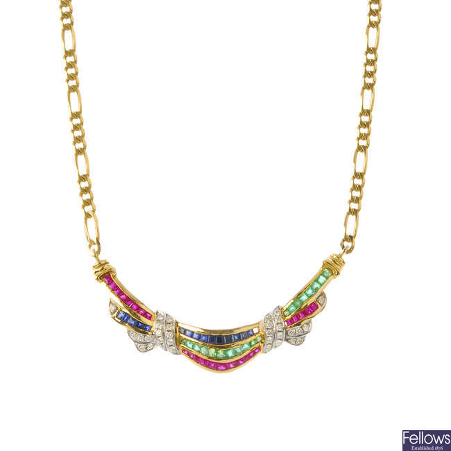 A diamond, sapphire, ruby and emerald necklace.