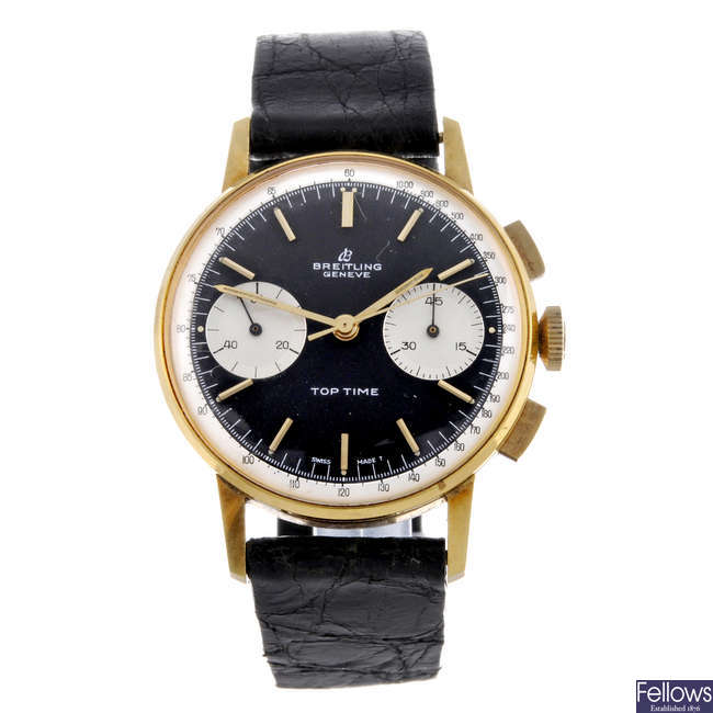 BREITLING - a gentleman's gold plated Top-Time chronograph wrist watch.