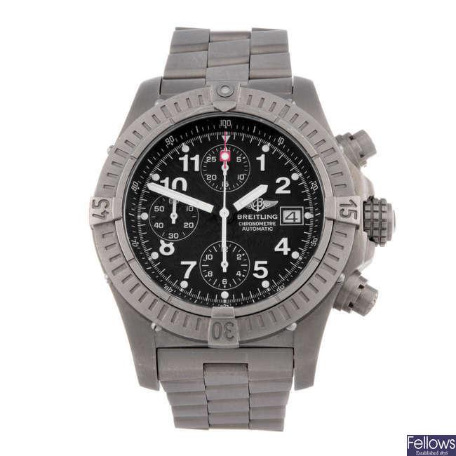 BREITLING - a gentleman's titanium Aeromarine Chrono Avenger chronograph bracelet watch.