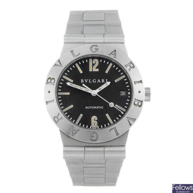 BULGARI - a gentleman's stainless steel Diagono bracelet watch.