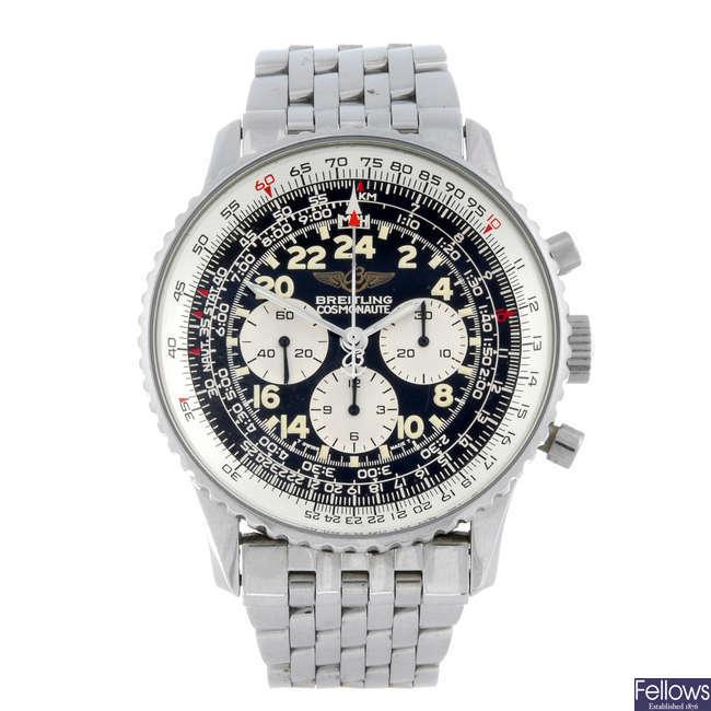 BREITLING - a gentleman's stainless steel Cosmonaute chronograph bracelet watch.