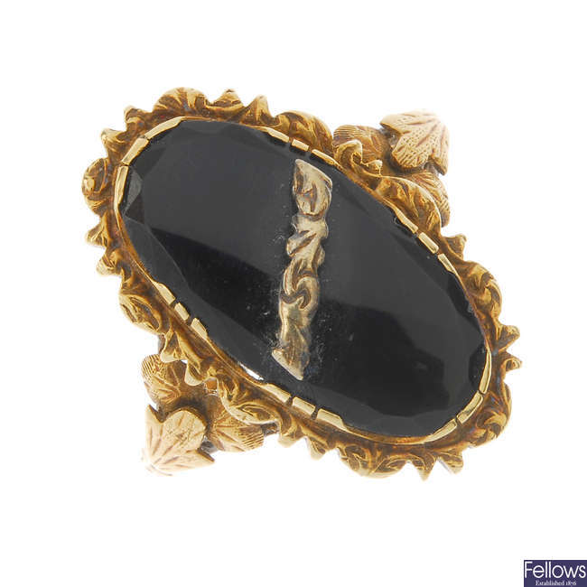 A mid 20th century onyx ring.