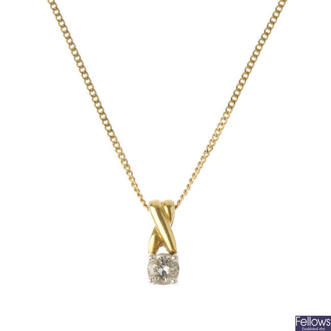 An 18ct gold diamond single-stone pendant, with chain.