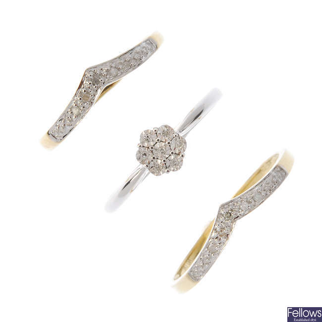 A selection of five 9ct gold diamond rings.