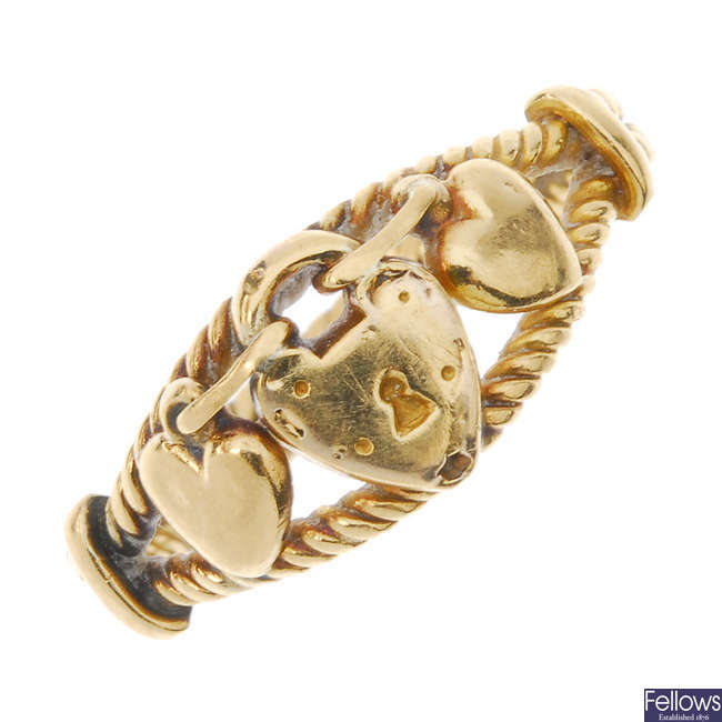 An early 20th century 18ct gold heart and padlock ring.