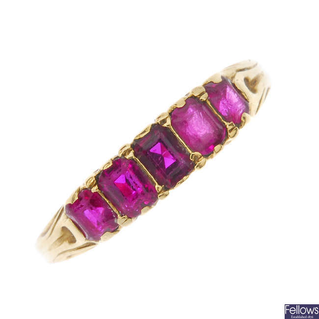 A late 19th century 18ct gold ruby five-stone ring.