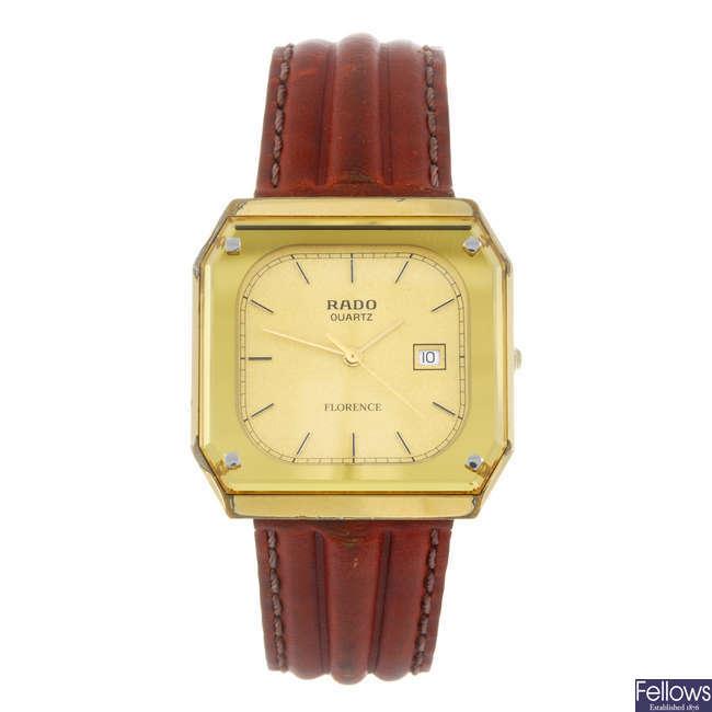 RADO - a gentleman's gold plated Florence wrist watch.