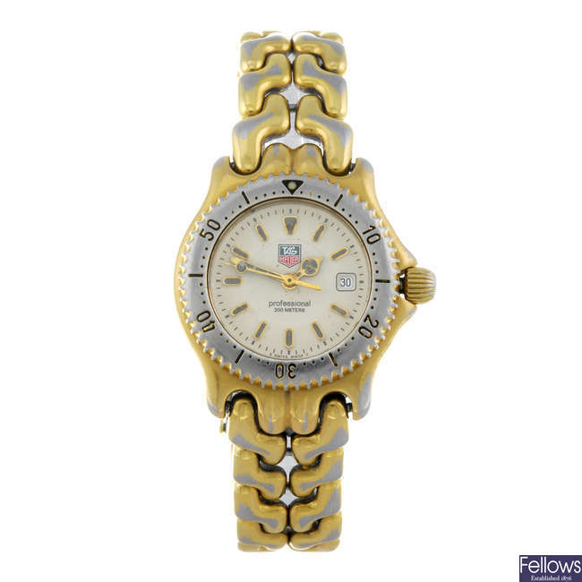TAG HEUER - a lady's gold plated S/El bracelet watch.