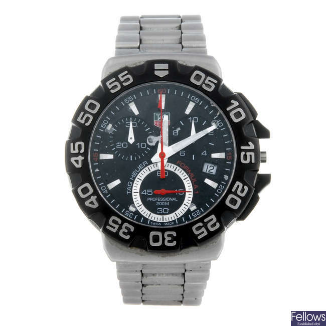 TAG HEUER - a gentleman's stainless steel Formula 1 chronograph bracelet watch.