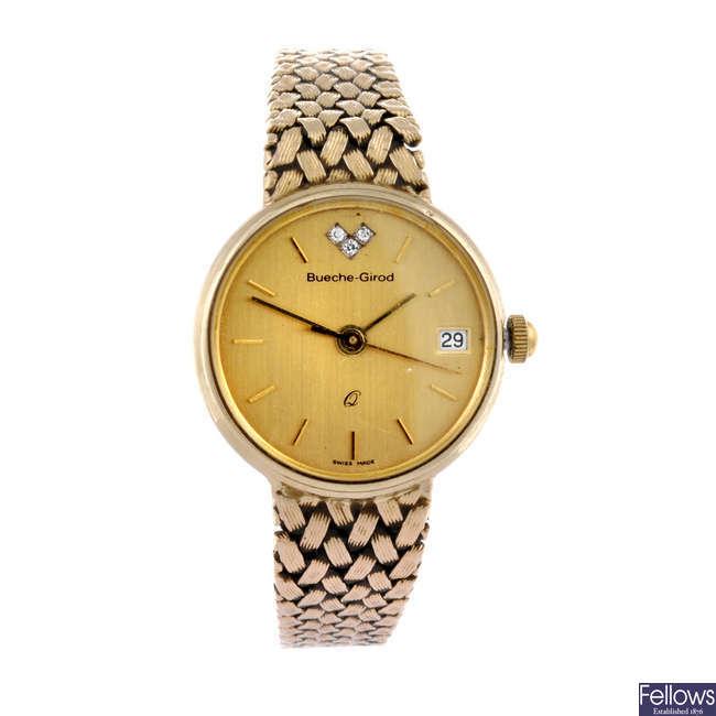 BUECHE-GIROD - a lady's 9ct yellow gold bracelet watch.