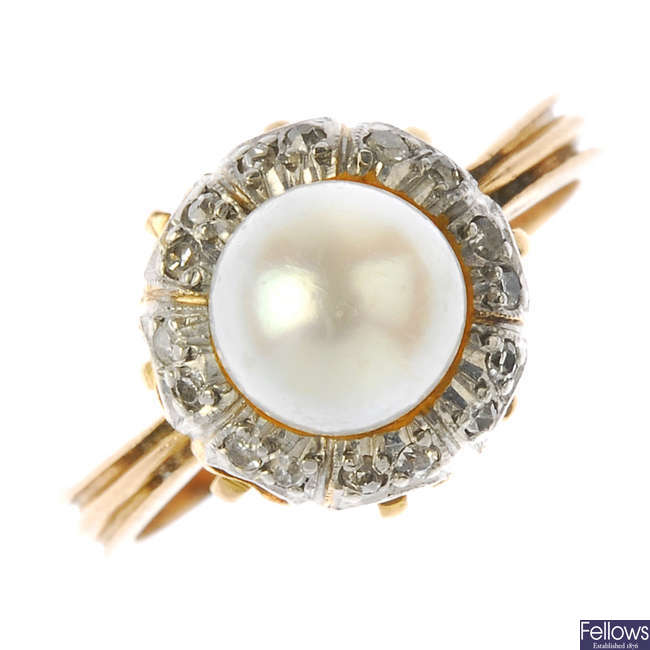 A cultured pearl and diamond cluster ring.