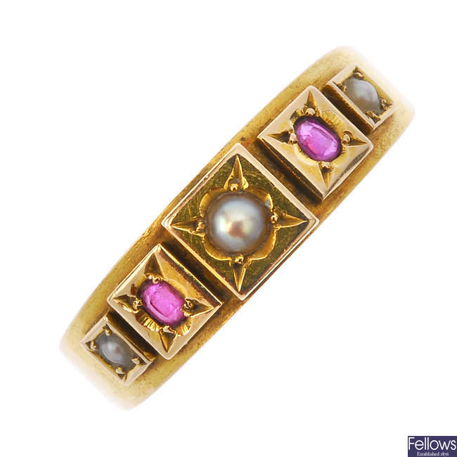 A late Victorian 15ct gold and ruby and split pearl ring.