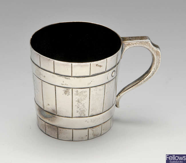 A Victorian Scottish silver mug.