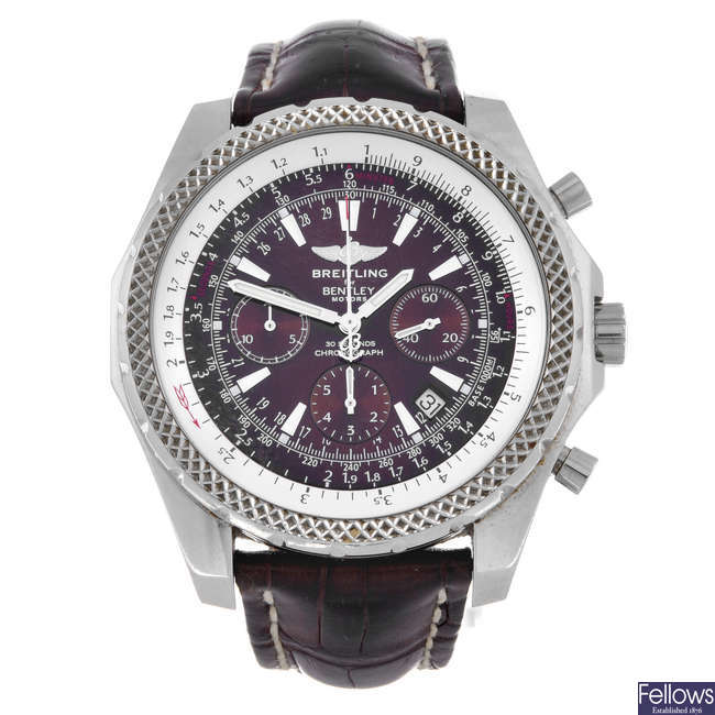 BREITLING - a gentleman's stainless steel Breitling For Bentley Motors chronograph wrist watch.