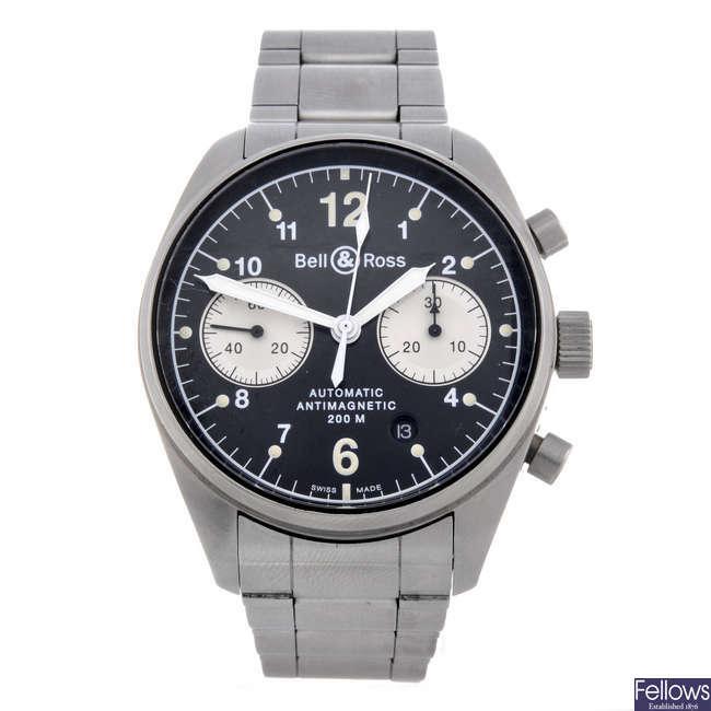 BELL & ROSS - a gentleman's stainless steel BR 126 chronograph bracelet watch.