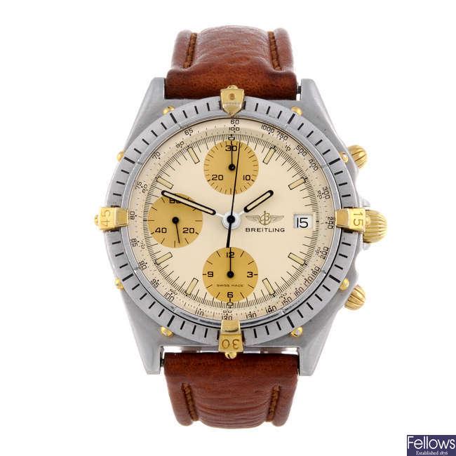 BREITLING - a gentleman's stainless steel Chronomat chronograph wrist watch.