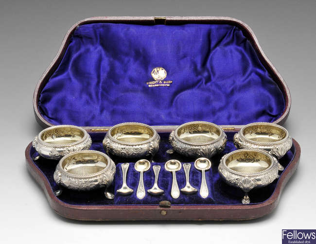A cased set of six mid-Victorian open silver salts.